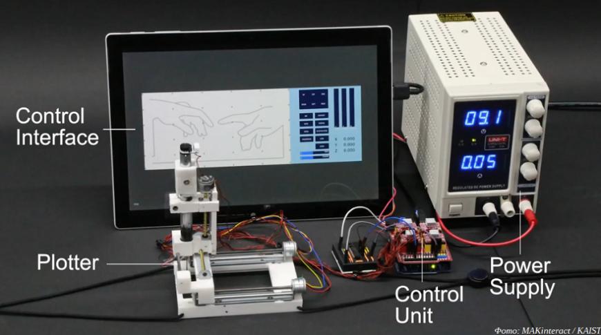 Инженеры KAIST продемонстрировали плоттер для печати электроники поверх тела
