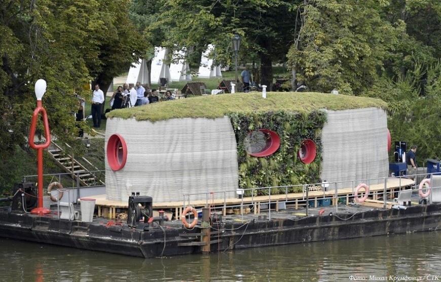 В Праге демонстрируется первый чешский 3D-печатный дом, и он на плаву