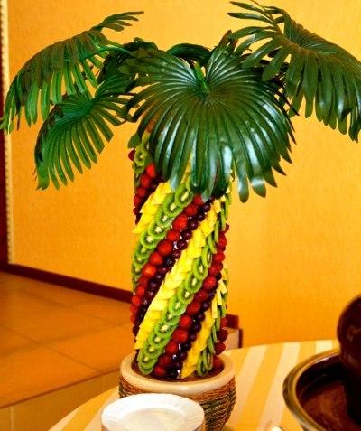 Как сделать пальму с фруктами