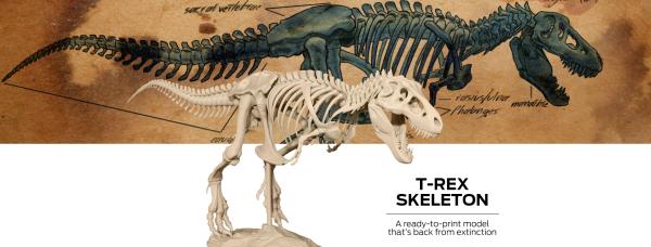 MakerBot предлагает напечатать модели скелета и черепа тираннозавра ... 8ccf2e39646b6